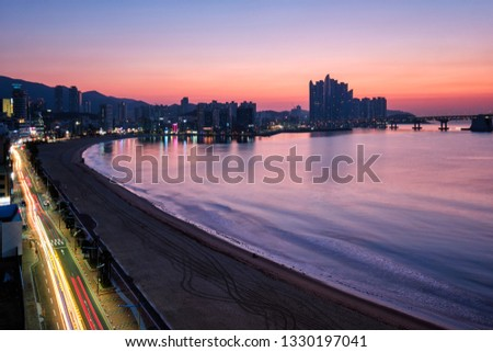 Gwangalli Beach in Busan on sunrise, South Korea. Aerial view