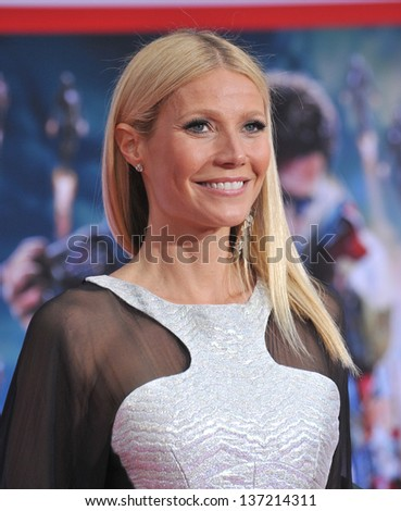 "Gwyneth Paltrow at the Los Angeles premiere of her movie ""Iron Man 3"" at the El Capitan Theatre, Hollywood. April 24, 2013  Los Angeles, CA"