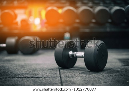 Gym and dumbbell weight training equipment on sport ,Healthy life and gym exercise equipments and sports concept ,copy space