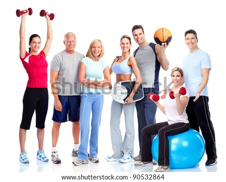 Gym and Fitness. Smiling people. Isolated over white background