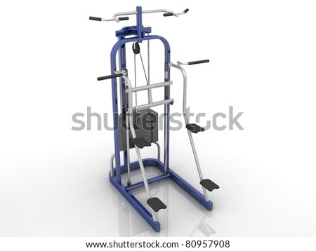 Gym and muscle machine  isolated on white background