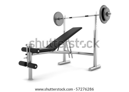 gym bench isolated on white background with clipping path
