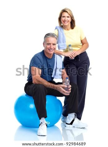 Gym, Fitness, healthy lifestyle. Senior couple. Over white background