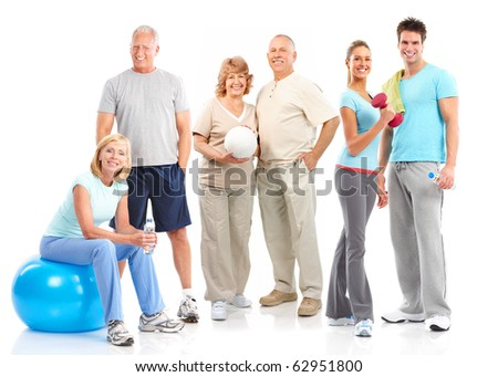 Gym, Fitness, healthy lifestyle. Smiling people. Over white background
