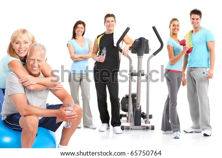 Gym, Fitness, healthy lifestyle. Smiling people. Over white background Stock photo ©