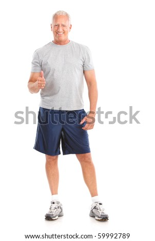 Gym & Fitness. Smiling elderly man  working out. Isolated over white background