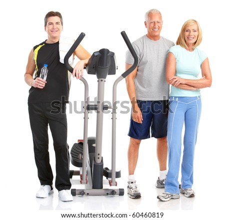 Gym & Fitness. Smiling people . Isolated over white background