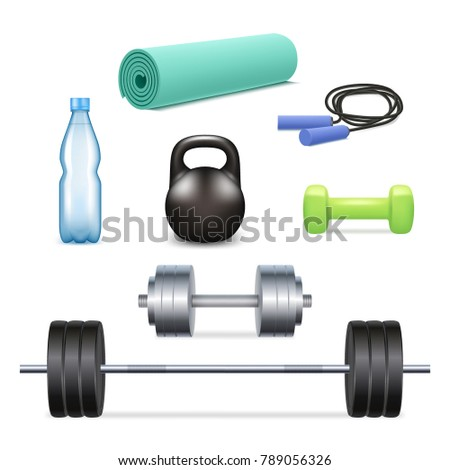 Gym icon set. Realistic 3d illustration isolated on white background.