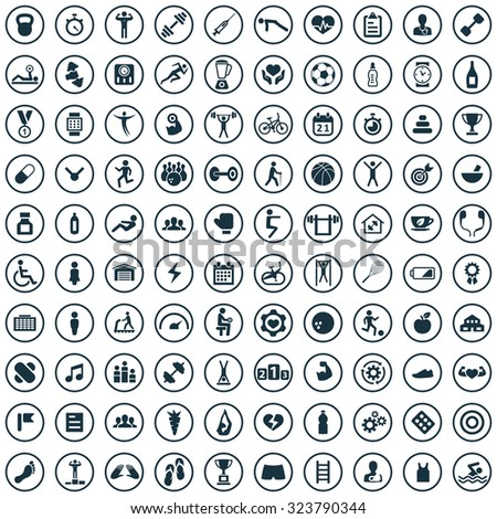 gym 100 icons universal set for web and mobile