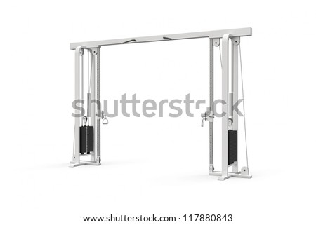gym maschine for chest cable pulling on white background - stock photo