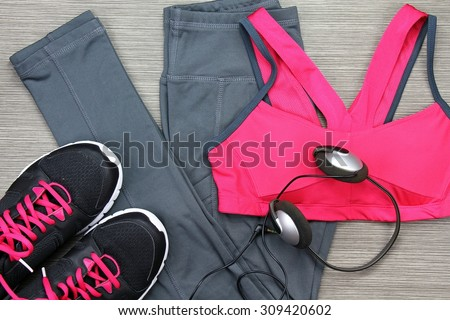Gym Outfit - Workout Clothing Running Shoes Headphones And Smartphone To Listen To Music While ...