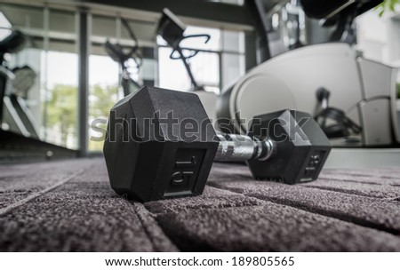 Gym weights in health club ,with Depth of Field