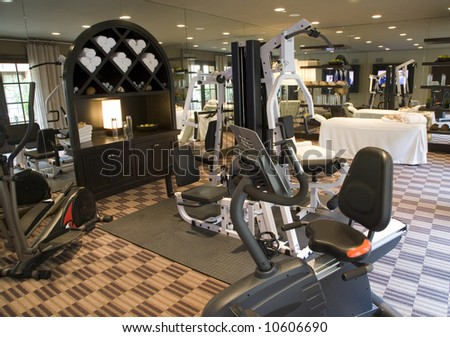 Gym with modern exercise equipment.
