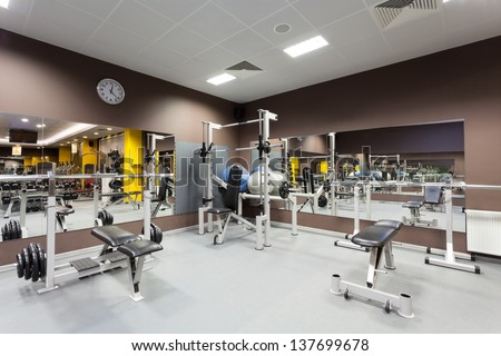 Gym with special equipment, empty, horizontal