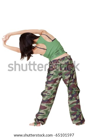 Gym woman doing stretch excise isolated over white background.