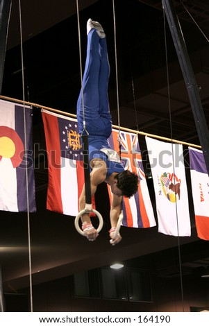 Gymnast competing on rings