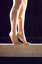 Gymnast's Feet on Balance Beam