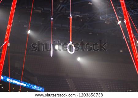 Gymnastic equipment in a gymnastic arena