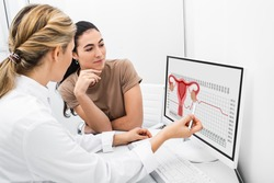 gynecologist communicates with her patient, indicating the menstrual cycle on the monitor. The reproductive specialist calculated the period of ovulation for the patient