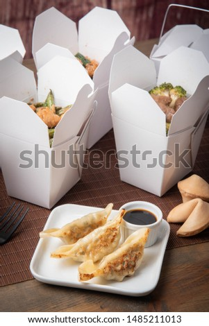 gyoza dumpling with american chinese food container