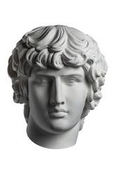 Gypsum copy of famous ancient statue Antinous head isolated on a white background. Plaster antique sculpture young man face. Renaissance epoch. Portrait.