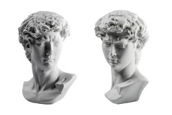 Gypsum statue of David's head. Michelangelo's David statue plaster copy isolated on white background. Ancient greek sculpture, statue of hero.