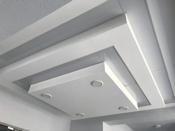 Gypsum suspended false ceiling design view of decorative way for an entrance of an high rise building interiors