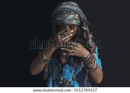 gypsy style young woman wearing tribal jewellery portrait Foto d'archivio ©