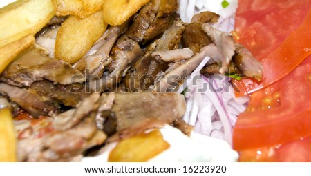 gyro pale platter dinner lunch in athens greece taverna restaurant with cold beer