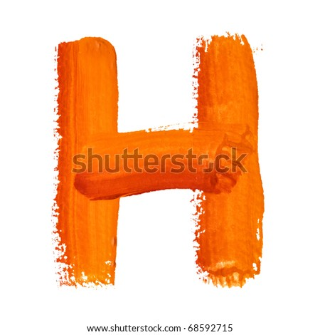 H - Color letters isolated over the white background