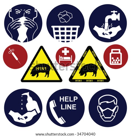 H1N1 swine flu sign collection individually layered