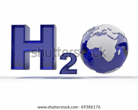 H2O. Formula of water on white isolated background. 3d