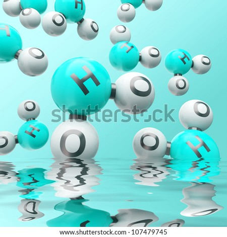 h20 water molecules on the gradient background