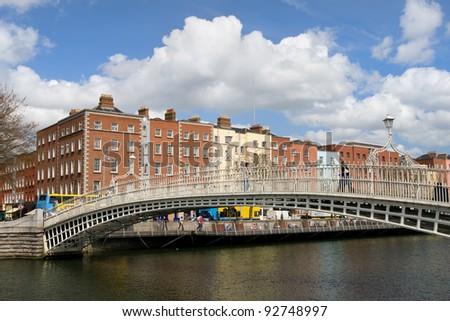 Ha'penny Bridge on the river Liffey in the city of Dublin, Ireland.
