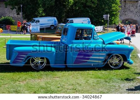 HAAPSALU, ESTONIA - JULY 18: American Beauty Car Show, showing blue 1956 Chevrolet Pickup, side view on July 18, 2009 in Haapsalu, Estonia