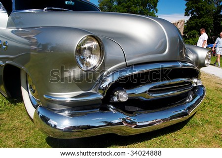 HAAPSALU, ESTONIA - JULY 18: American Beauty Car Show, showing grey 1952 Buick Super, front detail on July 18, 2009 in Haapsalu, Estonia