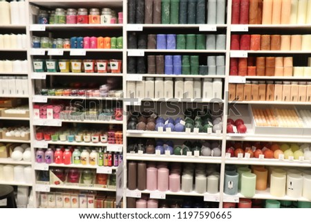 Haarlem, the Netherlands - october 6th 2018: various sorts of candles on display in a home decoration store #1197590665
