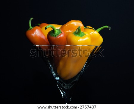 Habanero and Jalapeno peppers in a martini glass