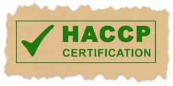 HACCP certification (Hazard Analysis and Critical Control Points) text - Food Safety and Quality Control in food industry stamp concept