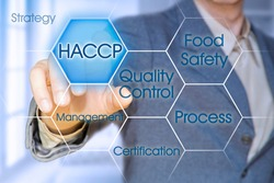 HACCP (Hazard Analyses and Critical Control Points) - Food Safety and Quality Control in food industry concept with business manager pointing to icons against a digital display.