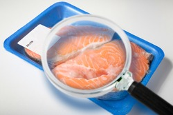 HACCP (Hazard Analyses and Critical Control Points) - Food Safety and Quality Control in food industry - concept with fresh fish salmon inside a plastic tray with cellophane cover packaging