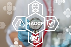 HACCP - Hazard Analysis and Critical Control Points. Medicine Food Quality Inspection Concept.