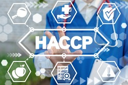 HACCP Hazard Analysis Critical Control Point Medical concept. Safety Food Healthcare Certification. Healthy Nutrition Standards.