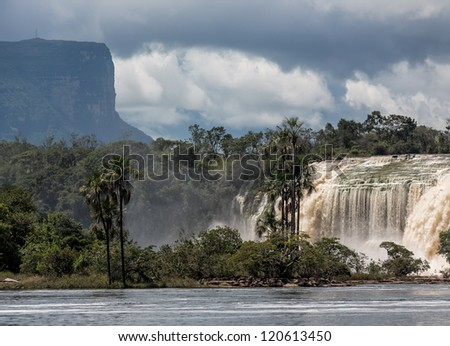 Hacha waterfall in the lagoon of Canaima national park after the storm - Venezuela, South America