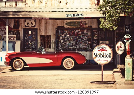 "stock photo hackberry august hackberry general store with a red corvette car in front on august 120891997 - Каталог - Фотообои ""Автомобили"""