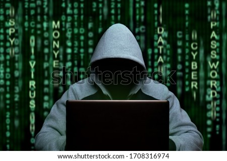 Hacker at the computer. Cyber espionage and digital security Foto stock ©