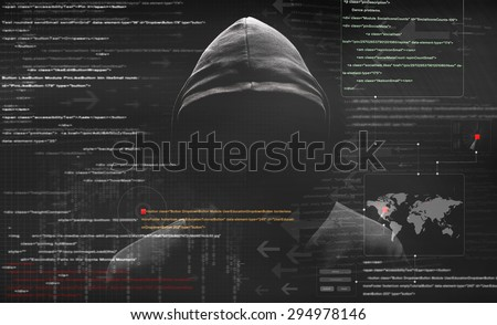 hacker at work with graphic...