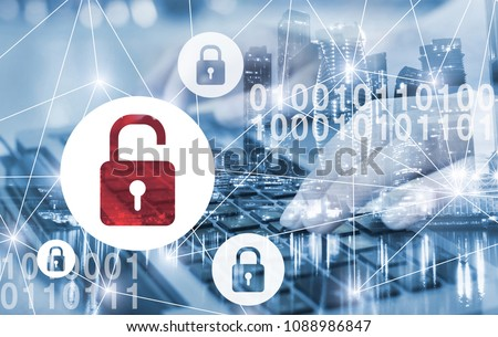 hacker attack and data breach, information leak concept, double exposure futuristic cyber  background with broken lock Foto d'archivio ©