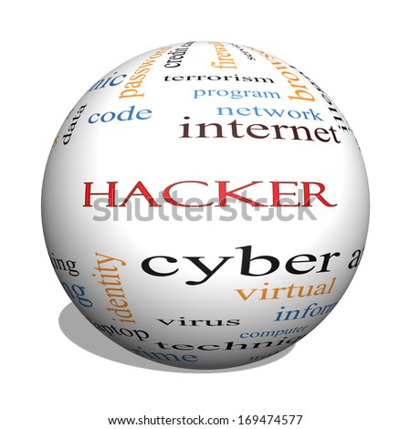 Hacker 3D Sphere Word Cloud Concept with great terms such as firewall, cyber, attack, crime and more.