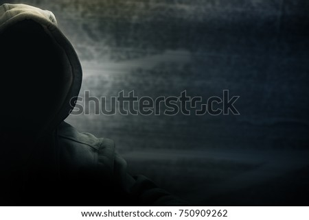 Hacker half face and black head and grunge background, terrorism and internet criminal cyber concept Сток-фото ©